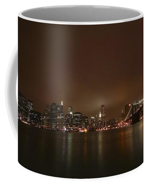 Bridge Coffee Mug featuring the photograph Big Apple Lights by Evelina Kremsdorf
