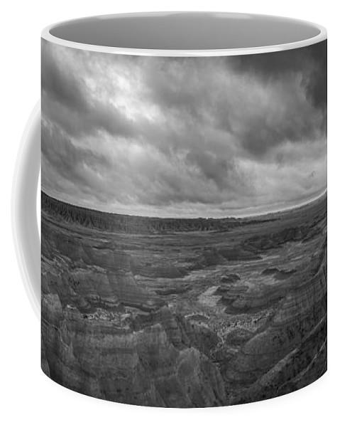 Big Badlands Overlook Coffee Mug featuring the photograph Big Badlands Overlook Panorama 2 Bw by Michael Ver Sprill