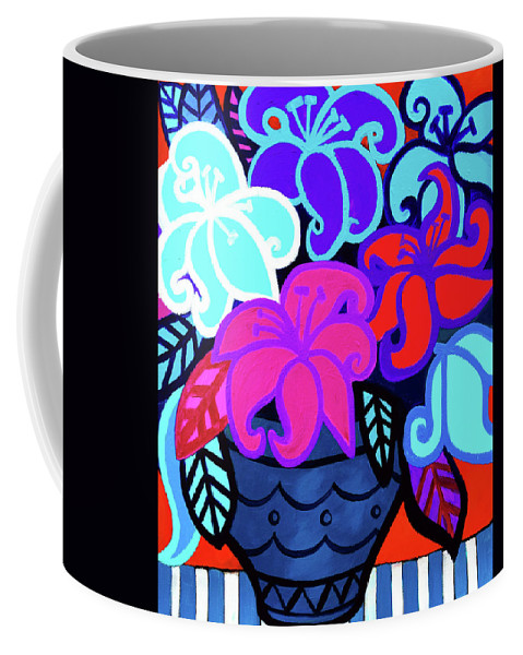 Lilies Coffee Mug featuring the painting Big Colorful Lillies 2 by Stephen Humphries
