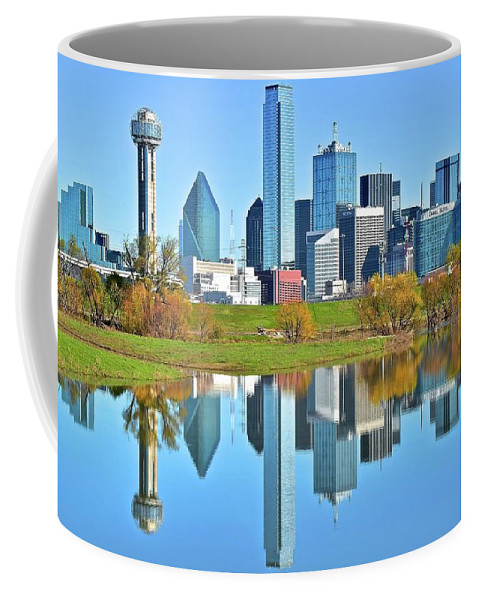 Dallas Coffee Mug featuring the photograph Big D Reflection by Frozen in Time Fine Art Photography