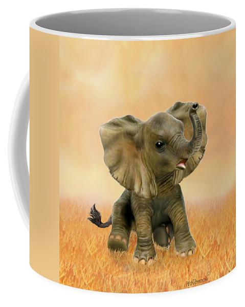 Baby Elephant Coffee Mug featuring the digital art Beautiful African Baby Elephant by Glenn Holbrook