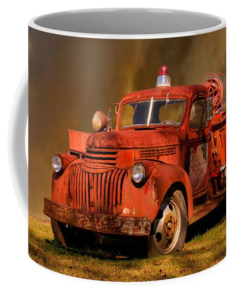 Big Coffee Mug featuring the photograph Big Fire - Old Fire Truck by Douglas Barnett