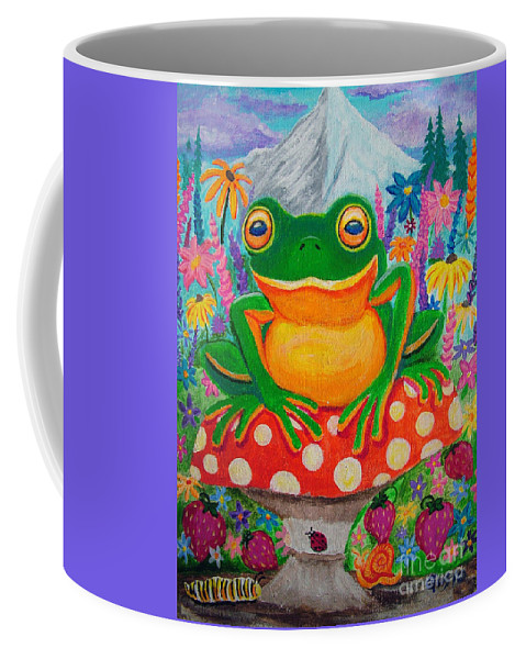Frog Coffee Mug featuring the painting Big Green Frog On Red Mushroom by Nick Gustafson