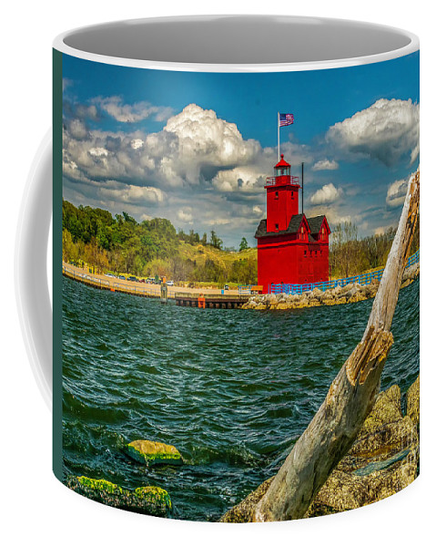Great Lakes Coffee Mug featuring the photograph Big Red Lighthouse In Michigan by Nick Zelinsky