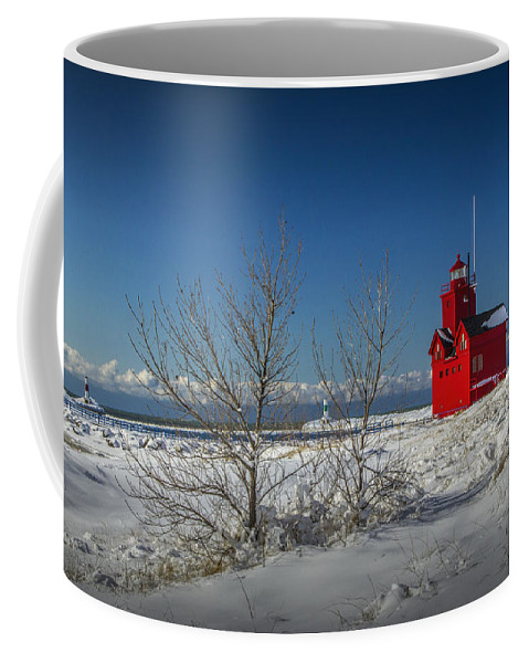 Art Coffee Mug featuring the photograph Big Red Lighthouse In Winter by Randall Nyhof