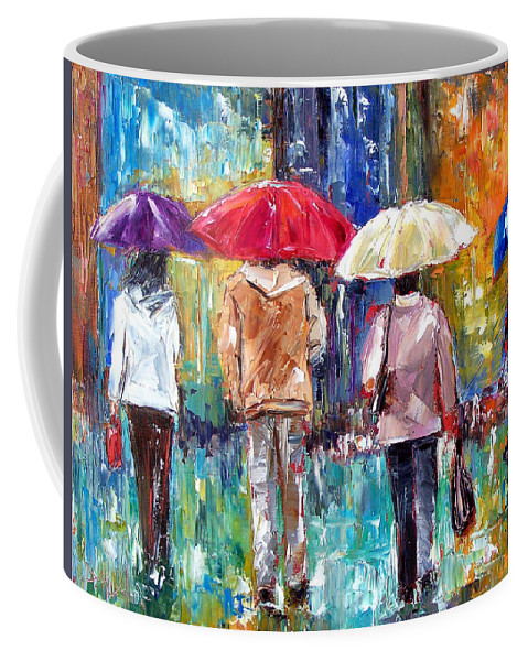 Rain Coffee Mug featuring the painting Big Red Umbrella by Debra Hurd