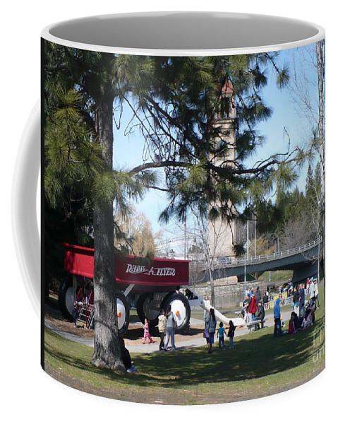 Riverfront Park Coffee Mug featuring the photograph Big Red Wagon In Riverfront Park by Carol Groenen