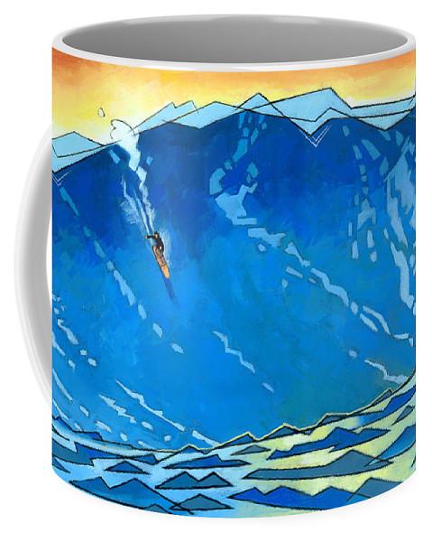 Surfer Coffee Mug featuring the painting Big Wave by Douglas Simonson