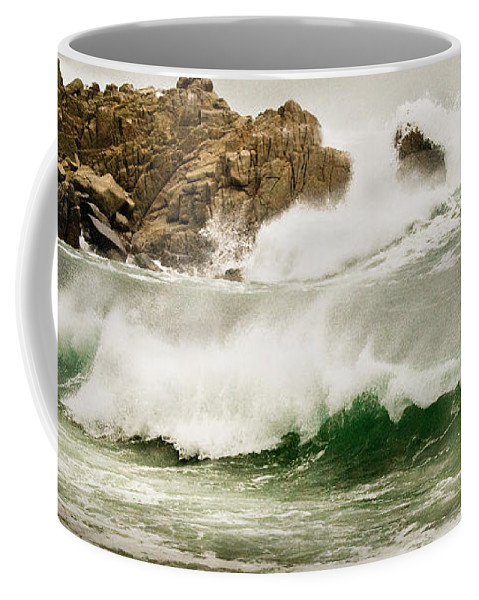 California Coast Coffee Mug featuring the photograph Big Waves Comin In by Norman Andrus