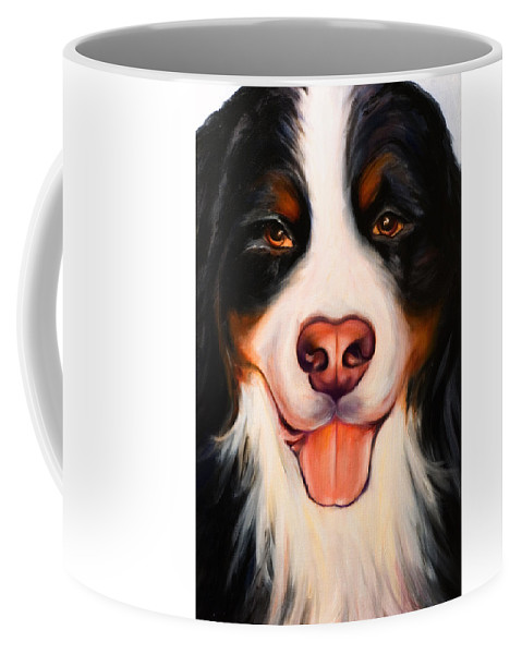 Dog Coffee Mug featuring the painting Big Willie by Shannon Grissom