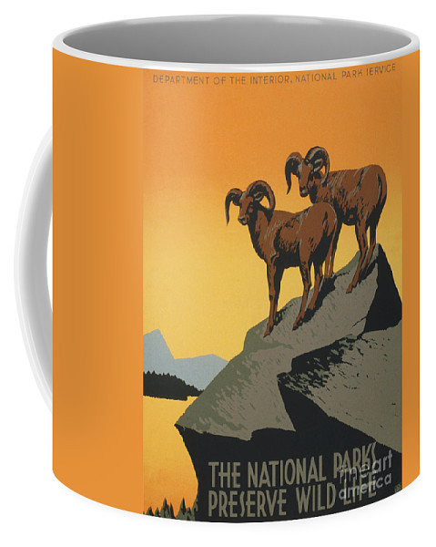 Bighornthe National Parks Preserve Wild Life Coffee Mug featuring the painting Bighornthe National Parks Preserve Wild Life by Celestial Images