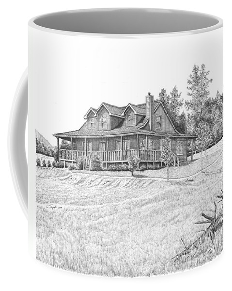 Home Coffee Mug featuring the drawing Bigness House by Lawrence Tripoli