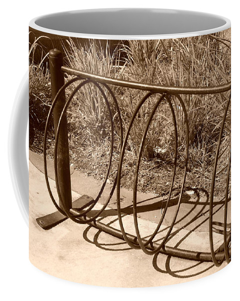 Bicycle Coffee Mug featuring the photograph Bike Rack by Rob Hans