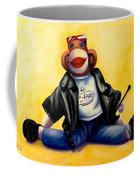 Sock Monkey Brown Coffee Mug featuring the painting Biker Dude Made Of Sockies by Shannon Grissom