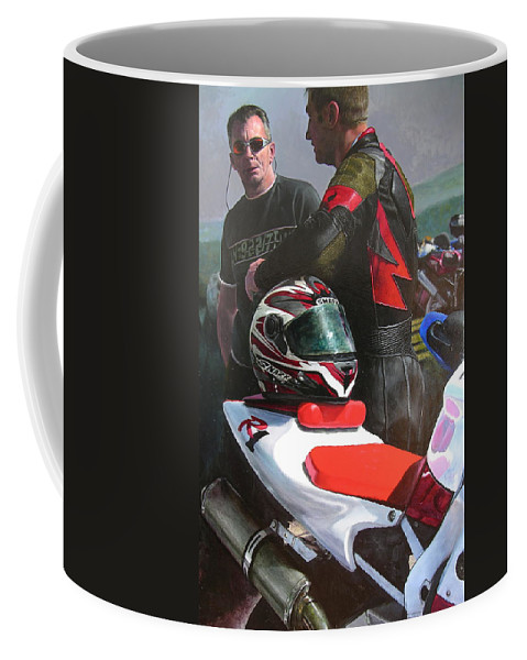 Bikers Coffee Mug featuring the painting Bikers At The Horseshoe Pass by Harry Robertson