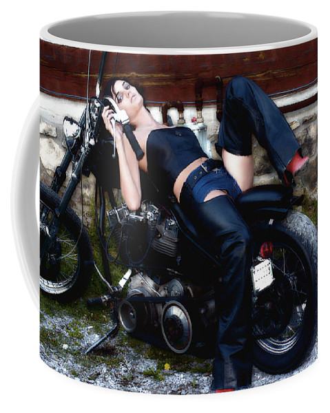 Clay Coffee Mug featuring the photograph Bikes and Babes by Clayton Bruster