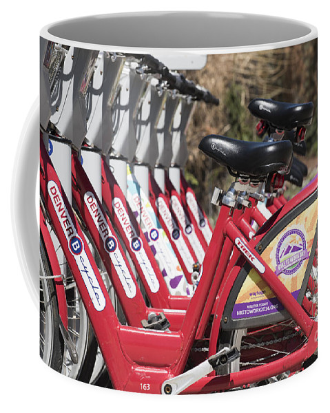 Athletic Coffee Mug featuring the photograph Bikes For Rent by Juli Scalzi