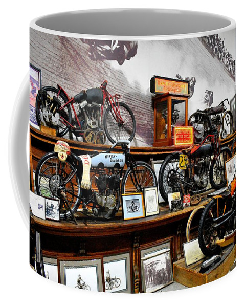 Bikes Coffee Mug featuring the photograph Bikes On A Wall by Tony Culpepper