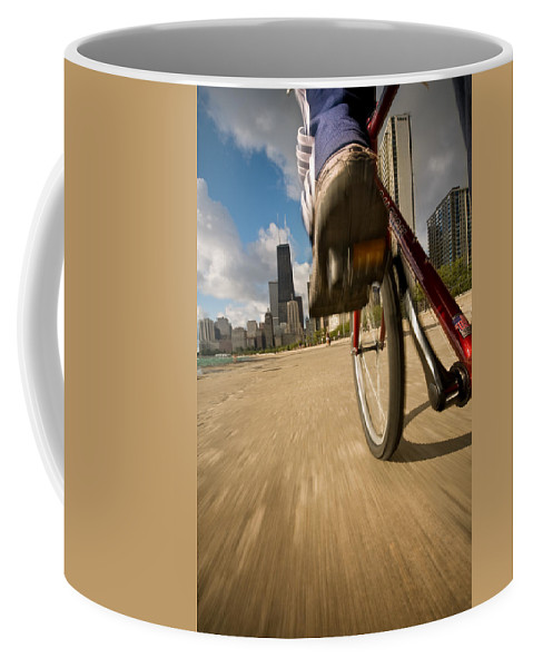 Active Coffee Mug featuring the photograph Biking Chicagos Lakefront by Steve Gadomski
