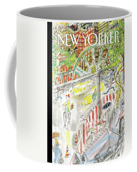 Biking In The Rain Coffee Mug featuring the painting Biking In The Rain by Jean-Jacques Sempe