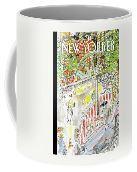 Biking In The Rain Coffee Mug featuring the painting Biking in the Rain by Jean-Jacques Sempe