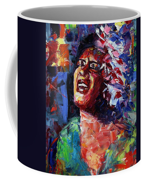 Jazz Coffee Mug featuring the painting Billie Holiday Live by Debra Hurd