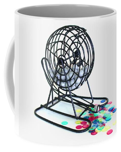 Bingo; Ball; Keno; Balls; Random; Cage; Rotate; Rotating; Drawn; Draw; Caller; Cheat; Cheating; Card Coffee Mug featuring the photograph Bingo Cage by Allan Hughes