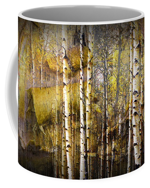 Birch Coffee Mug featuring the photograph Birch Bark And Trees Abstract by Randall Nyhof