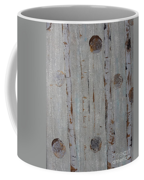 Land Coffee Mug featuring the painting Birch - Fog 2 by Jacqueline Athmann