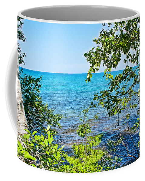 Birch Trees Above Lake Superior Off North Country Trail In Pictured Rocks National Lakeshore Coffee Mug featuring the photograph Birch Trees Above Lake Superior Off North Country Trail In Pictured Rocks National Lakeshore-mi by Ruth Hager