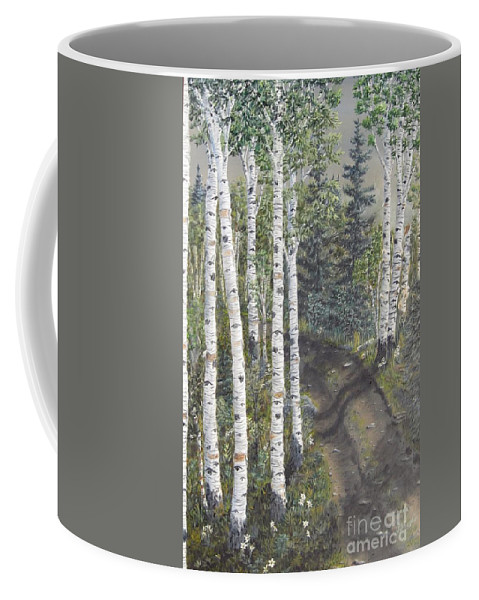 Landscape Coffee Mug featuring the painting Birch Trees Along Kennys Road 2 by J O Huppler