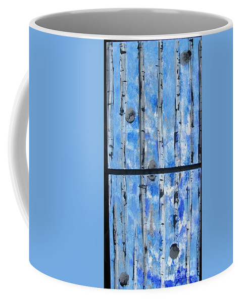 Land Coffee Mug featuring the painting Birch Trees - Blue by Jacqueline Athmann