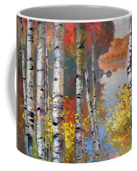 Landscape Coffee Mug featuring the painting Birch Trees By The Lake by Ylli Haruni