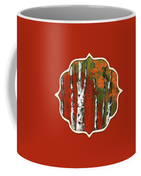 Birch Coffee Mug featuring the painting Birch Trees In An Autumn Forest by Anastasiya Malakhova