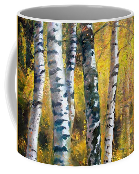 Landscape Coffee Mug featuring the painting Birch Trees In Golden Fall by Ylli Haruni