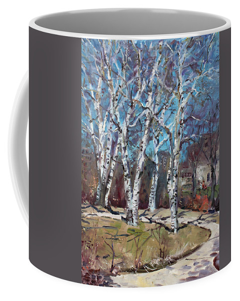 Landscape Coffee Mug featuring the painting Birch Trees Next Door by Ylli Haruni