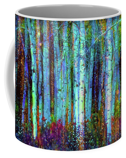 Birch Woods Coffee Mug featuring the mixed media Birch Woods by Lilia D