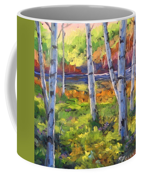 Art Coffee Mug featuring the painting Birches 01 by Richard T Pranke