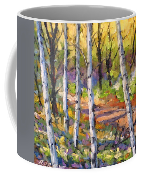 Art Coffee Mug featuring the painting Birches 02 by Richard T Pranke