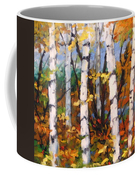 Art Coffee Mug featuring the painting Birches 03 by Richard T Pranke