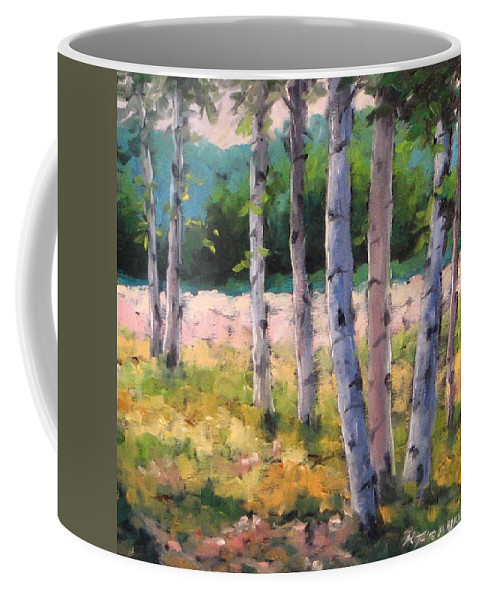 Art Coffee Mug featuring the painting Birches 04 by Richard T Pranke