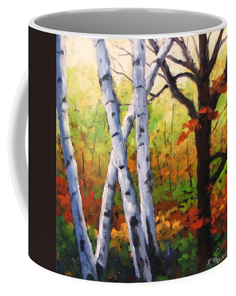 Art Coffee Mug featuring the painting Birches 05 by Richard T Pranke