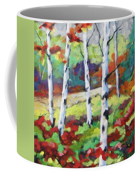 Art Coffee Mug featuring the painting Birches 07 by Richard T Pranke