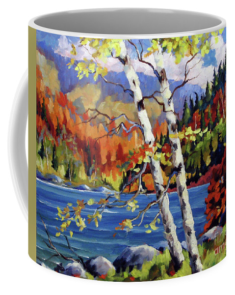 Art Coffee Mug featuring the painting Birches By The Lake by Richard T Pranke