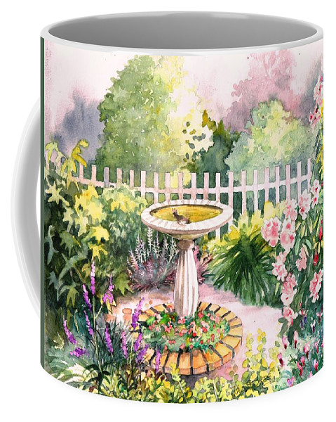 Landscapegarden Coffee Mug featuring the painting Bird Bath by Val Stokes