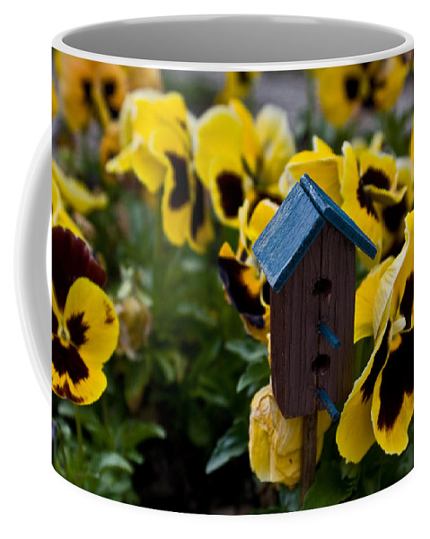Bird Coffee Mug featuring the photograph Bird House And Pansies by Douglas Barnett