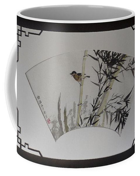 Bamboo Coffee Mug featuring the painting Bird In Bamboo- Fan Painting by Birgit Moldenhauer