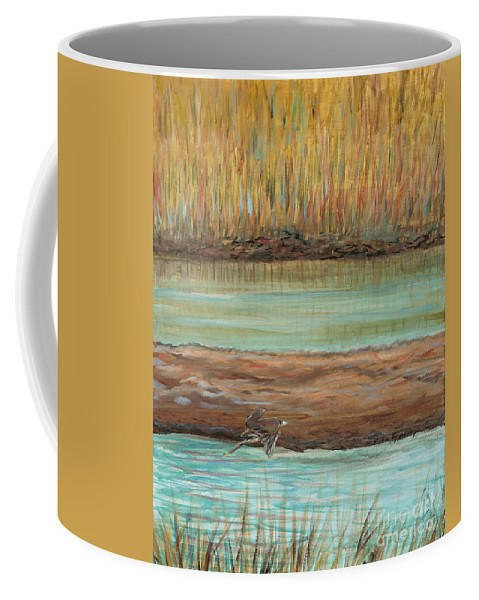 Bird Coffee Mug featuring the painting Bird in Flight by Nadine Rippelmeyer
