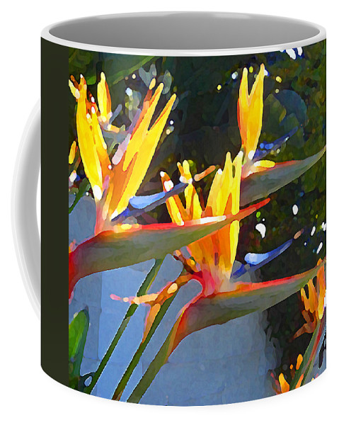 Abstract Coffee Mug featuring the painting Bird Of Paradise Backlit By Sun by Amy Vangsgard