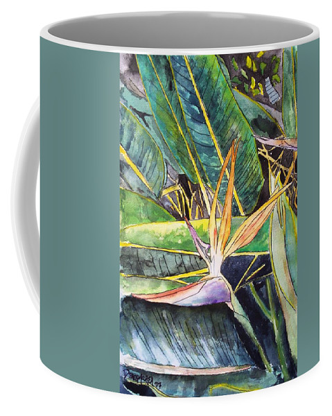 Watercolor Coffee Mug featuring the painting Bird Of Paradise by Derek Mccrea